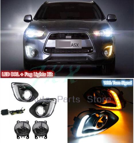 LED DRL Cover Lamp+Fog Lamp Kit For Mitsubishi Outlander Sport Asx Rvr 2013-15 k