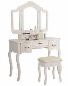 Tri Folding Vintage White Vanity Makeup Dressing Table Set 5 Drawers Christmas