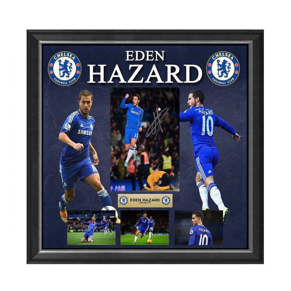 Eden Hazard Chelsea FC mano firmada fotografía enmarcada Collage Ronaldo Messi Salah
