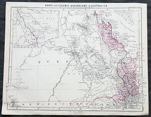 Queensland Australia Map.1861 A H Petermann Antique Map Of Early Queensland Australia Ebay