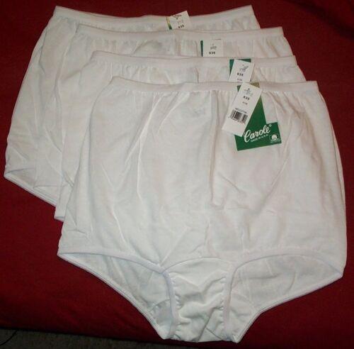 4 Pair Size 7 100/% COTTON PANTY White Carole No Side Seam Comfort Panties