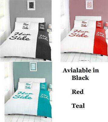 Her Side His Side Lenzuola.His Side Her Side Duvet Cover And Pillowcases Bedding Set Black Red Teal Ebay