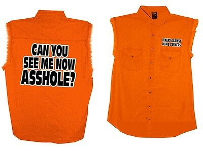 Can You See Me Now A**HOLE SLEEVELESS DENIM Biker Motorcycle t-shirt Orange BADD