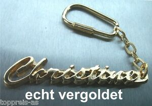 EDLER SCHLÜSSELANHÄN<wbr/>GER CHRISTINE VERGOLDET GOLD NAME KEYCHAIN KEYCHAIN