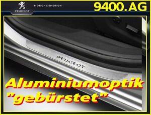 Original-PEUGEOT-508-508-SW-Einstiegsleisten-4-tlg-Aluminiumoptik-gebuerstet