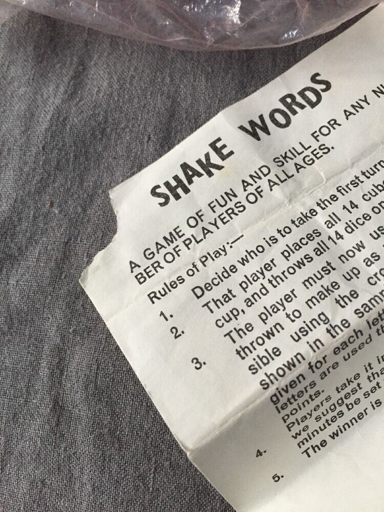 SHAKE WORDS - Dice RARE  Dice - spelling Educational Game, Complete 1975 f045cf
