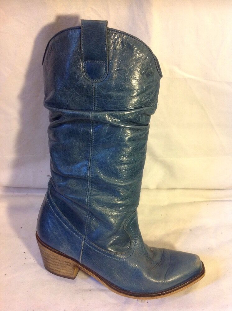 Ladies Green Mid Calf Leather Boots Size 36