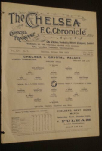 1919 London Combination Programme Chelsea v Crystal Palace 18th October