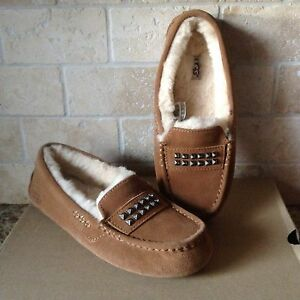 UGG Ansley Deco Studs Bling Chestnut Suede Moccasin Slippers Shoes US 9 Womens