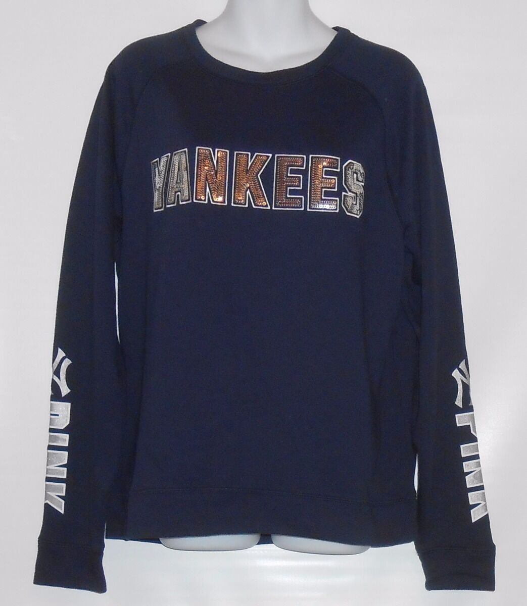 Victoria's Secret Rosa Bling Sequin New York Yankees Crew Blau Large (L) NWT