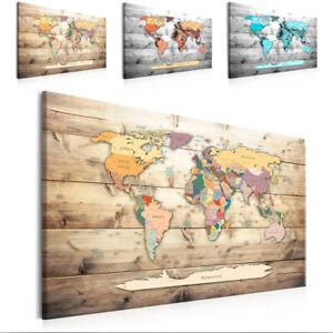 WELTKARTE HOLZ MAP BRETTER Wandbilder xxl Bilder Vlies Leinwand k-C-0069-b-a