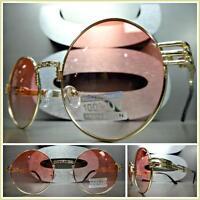 59d662358b8 Classic Vintage Retro Style Sun Glasses Unique Round Gold Frame Light Pink  Lens