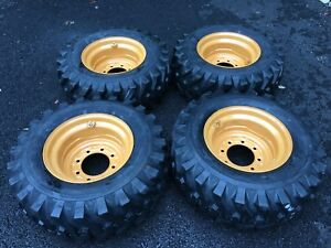4 New 12 16 5 Skid Steer Tires Wheels Rims For Case 1845c Others 12x16 5 Ebay