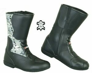 New-Waterproof-Motorcycle-Touring-Leather-Shoes-Motorbike-Racing-Armour-Boots-UK