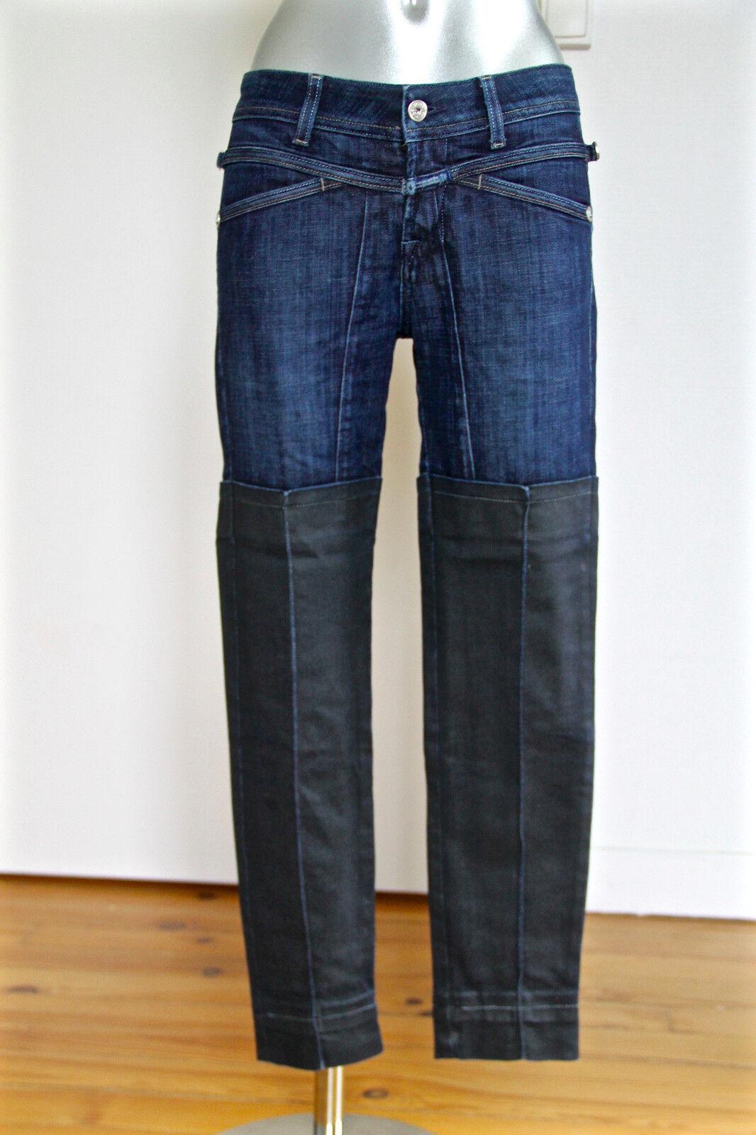 Bonito jeans 3 4 bi materiales engrasado denim M Y F GIRBAUD W28