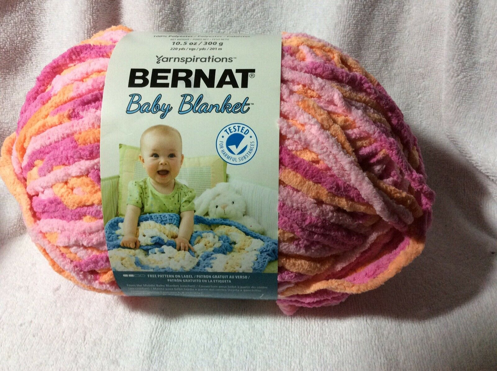 Bernat Baby Blanket Yarn 10 5oz Skein Color Peachy For Sale Online