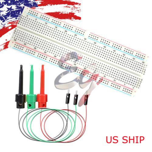 3X Test Hook /& MB-102 830 Point Prototype PCB Solderless Breadboard Protoboard