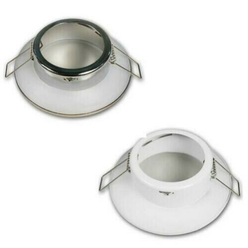 Mounting Frame DL-71 White//Stainless Steel Recessed Light IP44 Damp Areas