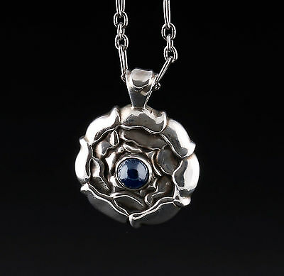 GEORG JENSEN Sterling Silver # 238 Pendant Of The Month, September, Sapphire.