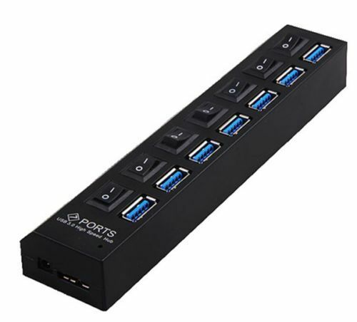 7 PORT USB 3.0 HUB 5 Gbps With Power On//Off Switch Adapter Cable For PC RF 2017