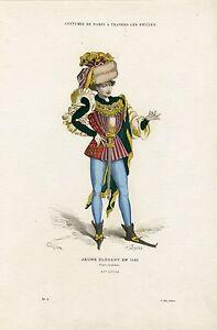 """""""jeune Elegant En 1480"""" Gravure Originale Entoilée (gerlier 1886)"""