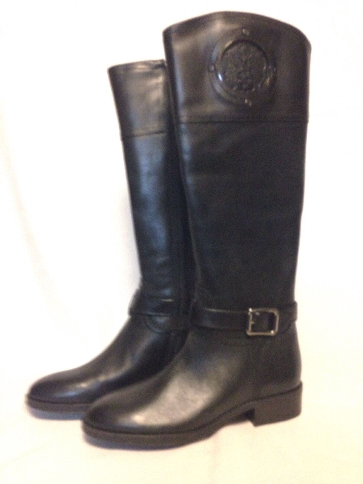 Vince Camuto Phillie Tall Boot 5.5 M Black Silky Leather New with Box