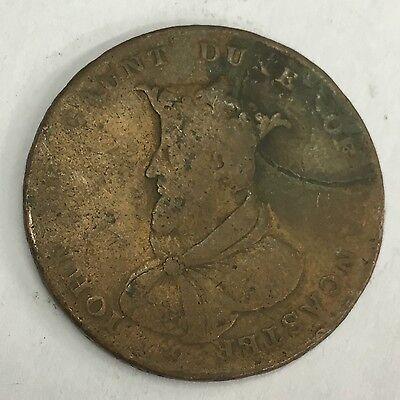 Antique Duke Of Lancaster 1792 Copper Half Penny Token