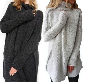 damen pullover strickjacke strick lang pulli jacke cardigan sweatshirt pulli ebay. Black Bedroom Furniture Sets. Home Design Ideas