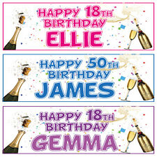 2 PERSONALISED BIRTHDAY PARTY BANNERS - 16th18th 21st 30th 40th 50th 60th 70th