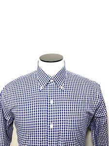 PETER-MILLAR-Crown-Long-Sleeve-Button-Up-Dress-Shirt-Blue-white-Check-Mens-Large