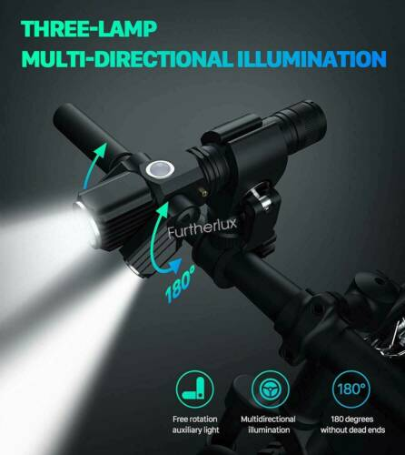Bicycle Headlight Cycling Bike Front Light MTB LED Rechargeable USB Bright Torch