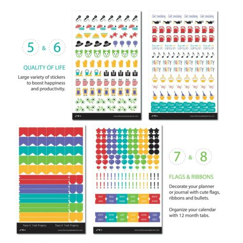 1154 CT Mountain Planner Stickers Cute Calendar Tabs for Productivity /& Goals