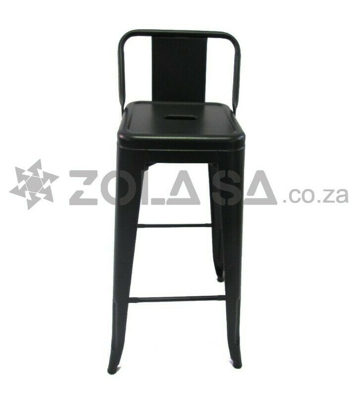 Tolix Metal Bar Chair With Lower Back -Black/White/Red