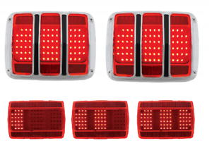 Pair Sequential LED Tail Lights Kit Gaskets Bezels For 1965-1966 Ford Mustang