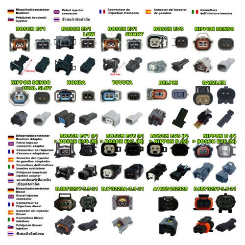 Conectores de inyección de combustible-bajo Bosch EV1 con cable Inyector 4 X Enchufe Hembra
