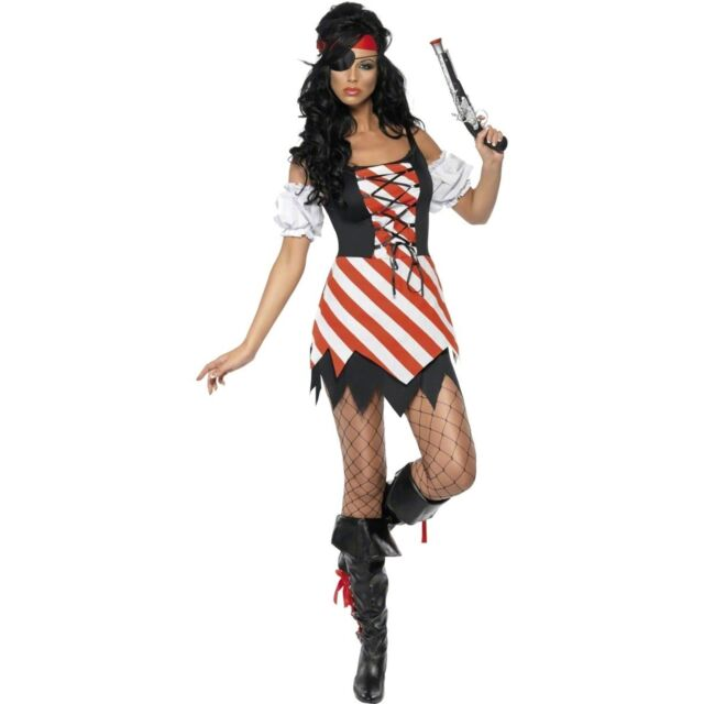 CL412 High Seas Pirate Wench Swashbuckler Caribbean Ladies Fancy Dress Costume