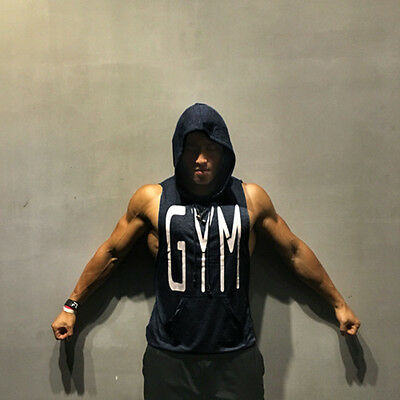 Pro GYM Logo Men Fitness Sleeveless Muscle Fit Hoodies Hooded Tank Top Vest