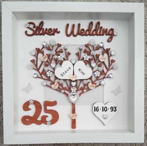 Image Is Loading Personalised Handmade 25th Silver Wedding Anniversary Gift