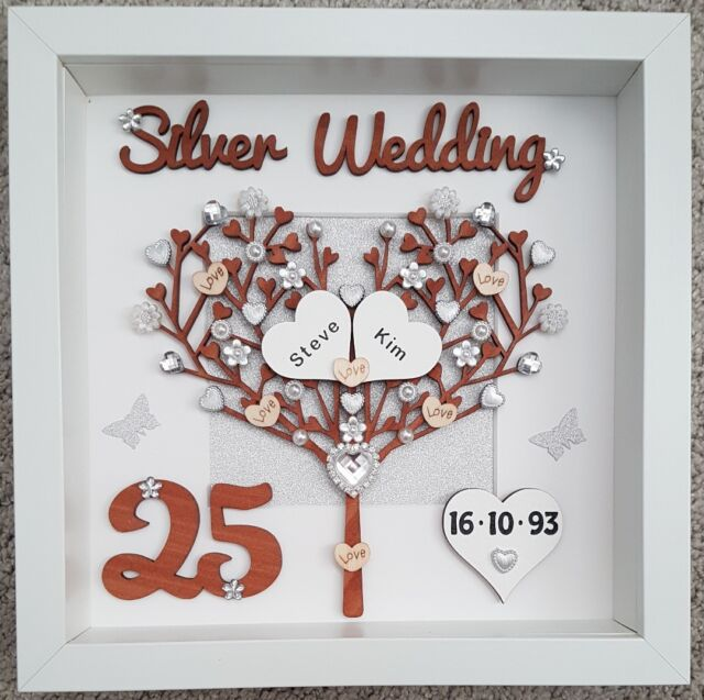 Personalised Handmade Silver 25th Wedding Anniversary Gift 3d