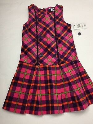 Hartstrings Girls/' Sleeveless PINK /& ORANGE PLAID Dress-2T-NWT