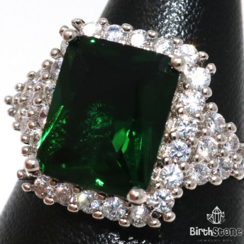 Details about  /4CT Green Emerald Ring Women Engagement Jewelry 14K Gold Plated Size 5 6 7 8 9