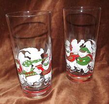 PRINCESS HOUSE GLASSES_CHRISTMAS SANTA TEDDY BEARS 1991 ICE SKATING- RETIRED 2CT