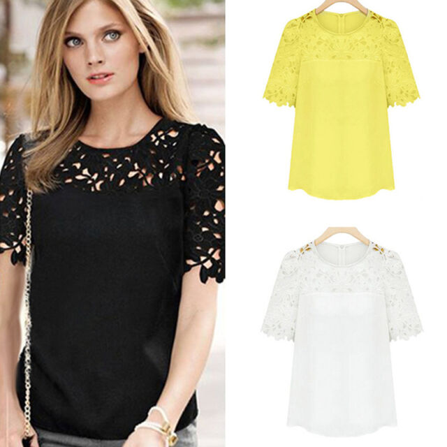 Womens Chiffon Lace Crochet Short Sleeve Crew Neck Casual Shirt Blouse Tops S-XL