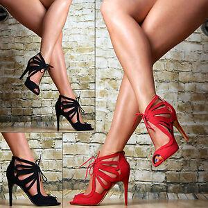 LUSSO-scarpe-donna-Party-Sandali-high-heels-tacchi-alti-a-spillo-sexy-rosso-nero