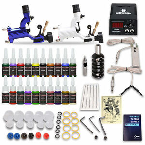 Tattoo Starter Kits 2 Rotary Tattoo Machines Guns 20Ink Sets Power ...