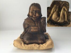 Japanese-Metal-Nude-Statue-Vtg-Figure-Okimono-Syunga-Interior-Cushion-m474