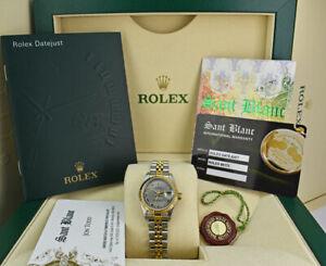 ROLEX  Ladies 18kt Gold & Stainless Steel DateJust Slate Roman 69173 SANT BLANC