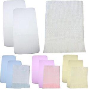 BabyPrem Boys Girls Nursery Bedding Set 2 Fitted Crib Cradle Sheets 84x43 Shawl