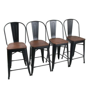 Brilliant Details About 4 26 Metal Bar Chairs Counter Height Bar Stool High Back Wooden Matte Black Ncnpc Chair Design For Home Ncnpcorg
