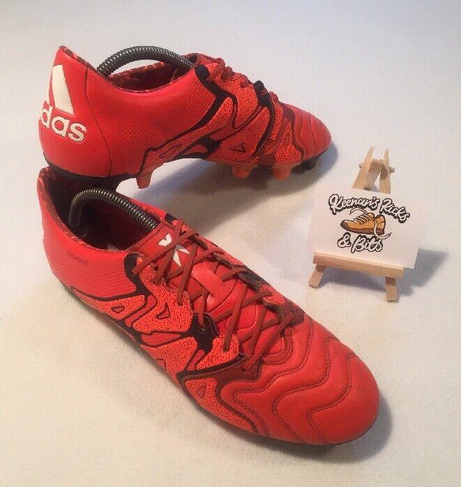 Adidas X 15.1 FG AG cuir Soccer Cleats Football bottes B26980 UK 9 Orange RARE